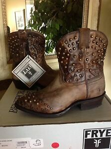 1d920f2a70e Details about FRYE Women's Billy Studded Short Brown Leather Cowboy Western  Boot 6M MSRP $387