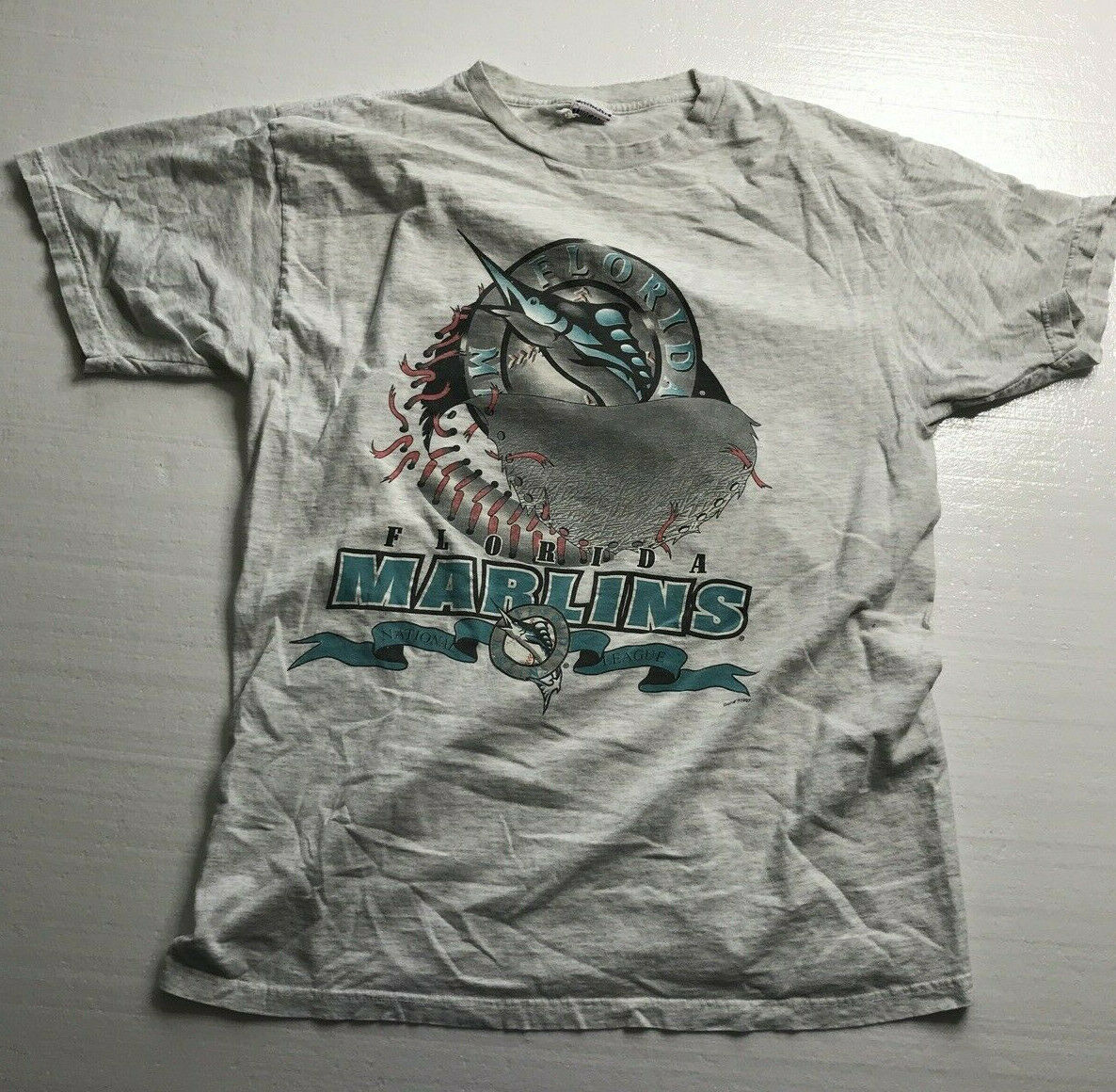 Distressed MLB Miami Marlins White Blue XL Designed Styled Sport Shirt Top