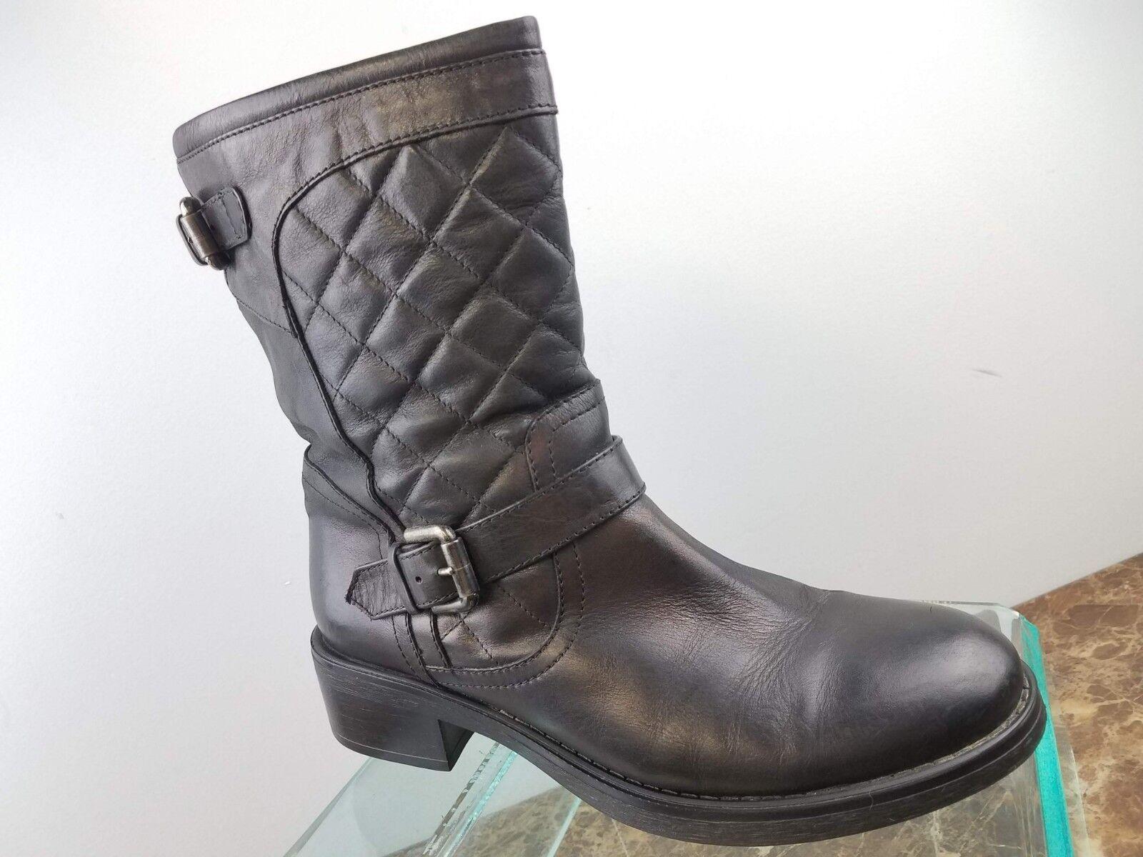 Aquatalia by Marvin K Weatherproof  Sage  Black Leather Zip Up Mid Calf Boots 8