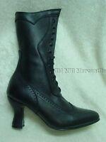 Black leather upper Oak Tree Farms Victorian style granny boots size 6.5