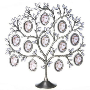 Metal Family Tree Picture 12 Frame Holder Hang Photo Home Table Desk