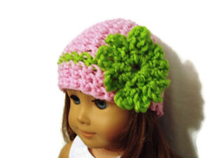 Crochet-Hat-Fits-American-Girl-Dolls-18-034-Doll-Clothes-Pink-w-Green-Flower