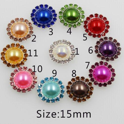 Nuevo 10Pc 15mm Colorido Boda piso nuevo botón de perla y diamantes de imitación