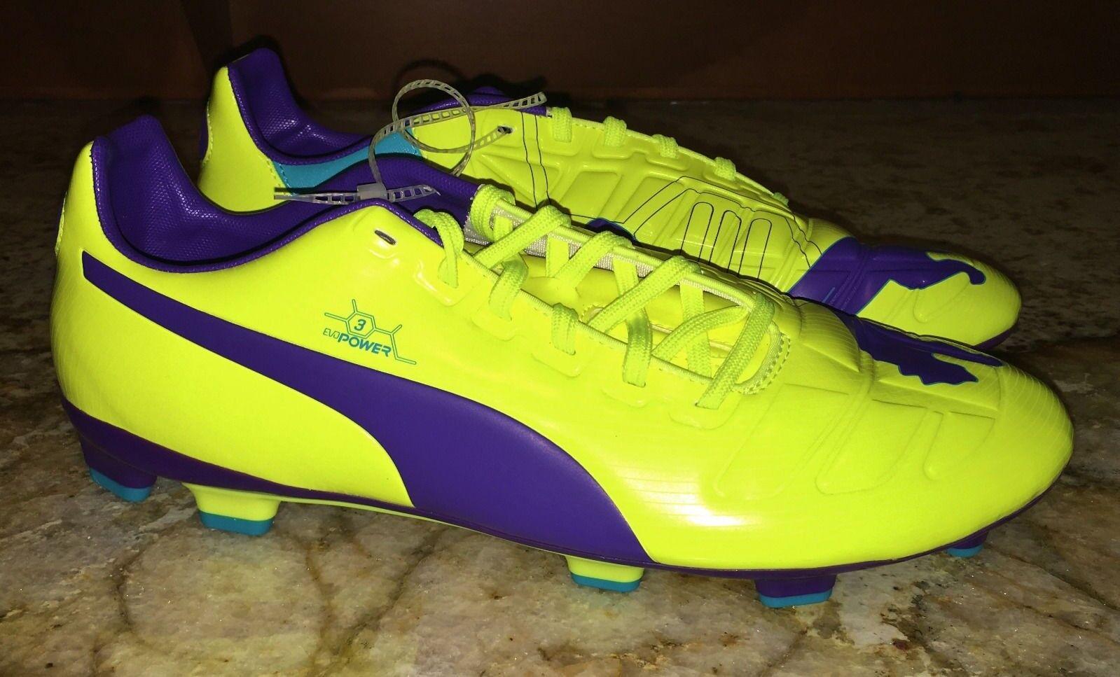 PUMA evoPower 3 Bright Gelb lila Turq Blau FG Soccer Cleats NEW  Herren 11 11.5