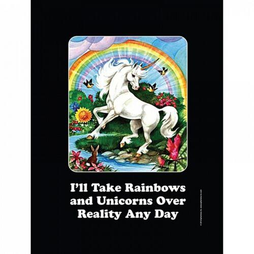 funny small metal sign 210mm x 150mm hb I/'ll Take Rainbows And Unicorns..