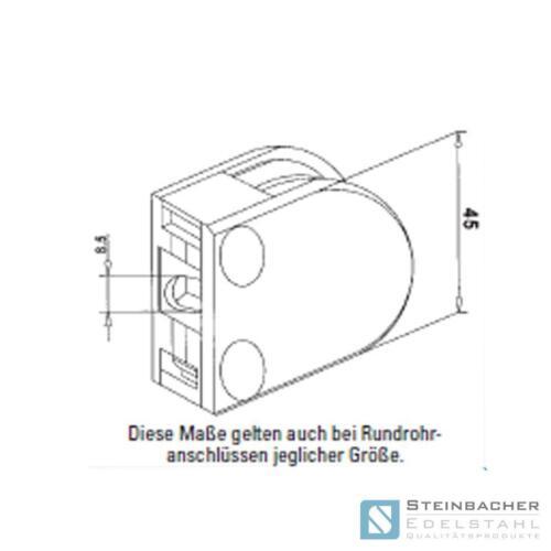 Edelstahl Glashalter 63 x 45mm Glasklemme Blechklemme V2A V4A Klemme