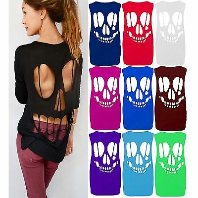 Ladies Sleeveless Back Cut Out Skull Vest Top New Womens Plus Size Baggy T Shirt
