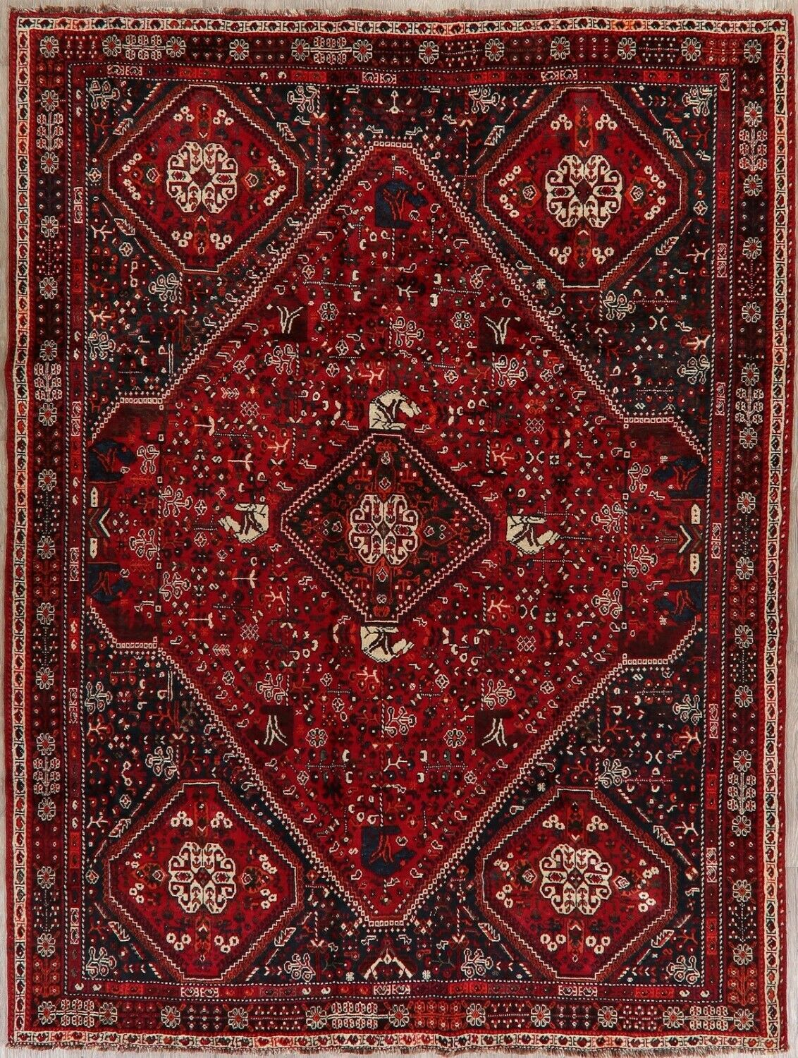 Isabelline One Of A Kind Prentice Hand Knotted Wool Navy Red Area Rug For Sale Online Ebay