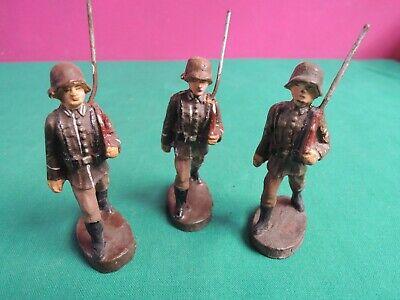 *l68*- 3 Soldatini In Pasta - 7,5 Cm - Elastolin Germany- Giocattolo Vintage