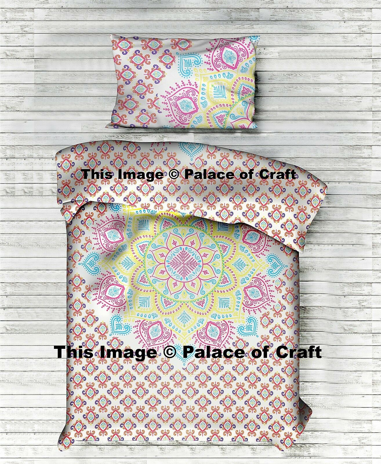 Twin Size Ombre Mandala Duvet Cover Quilt Doona Blanket Cover With Pillow Slip