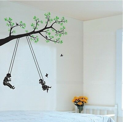 Boy And Girl Swing On The Tree Wall Decal Sticker Home Decor Vinyl Kids Room