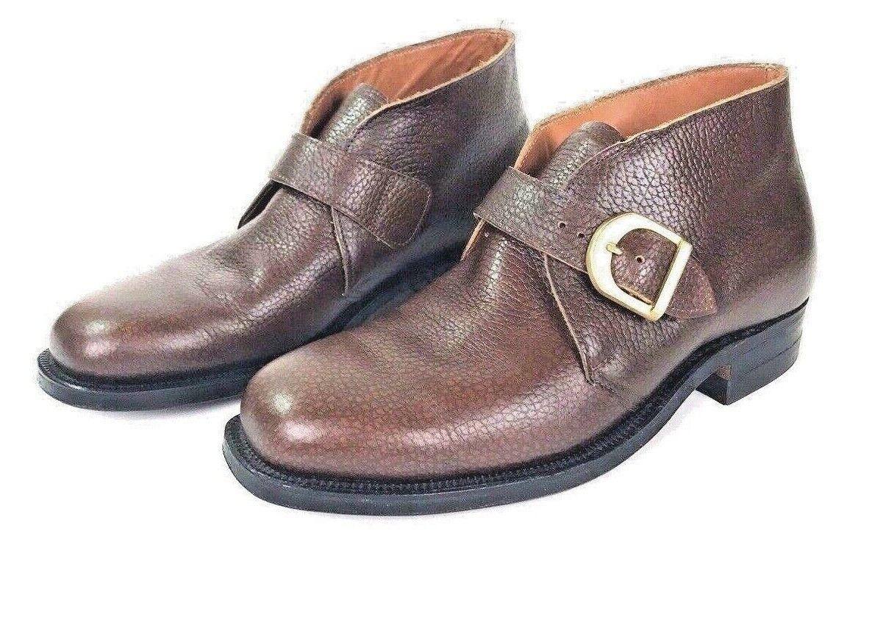 prendiamo i clienti come nostro dio ALDEN Pedic Marrone Pebble Grain Grain Grain Leather Single Monk Strap Loafers scarpe 6.5 mens  marca