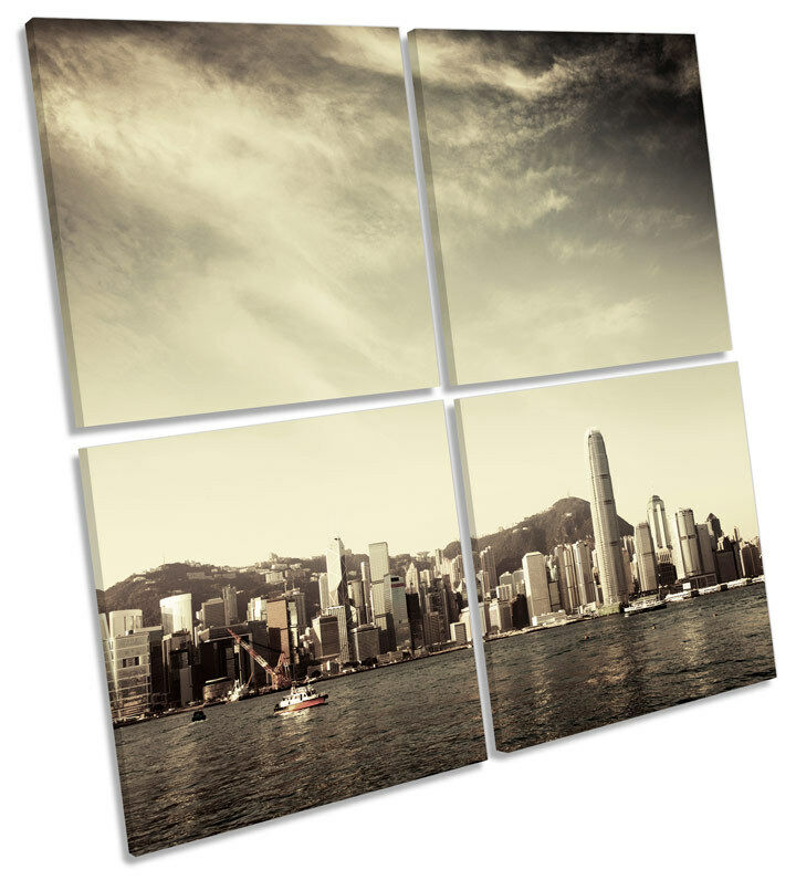 Hong Kong City Skyline MULTI CANVAS WALL ART Square Print