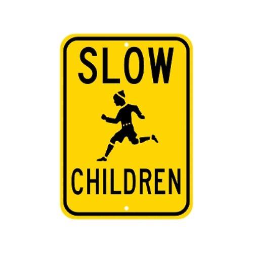 Slow Children At Play Sign Municipal Grade D.O.T Street Parking Road G-2RA9RK