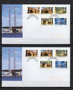 AUSTRALIE-serie-2004-bridges-ponts-serie-5-Tp-5-adhesifs-sur-2-FDC