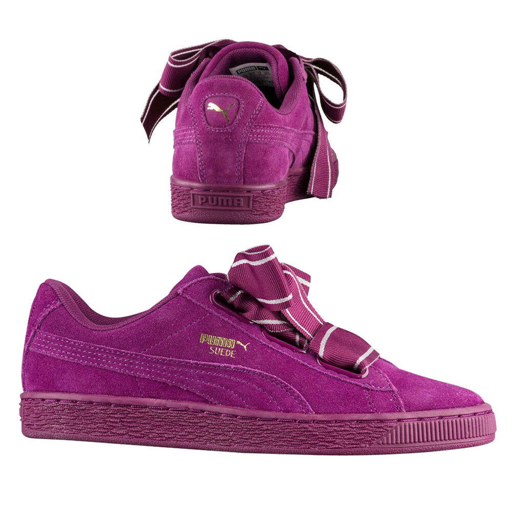 Puma en Daim Coeur Satin II Baskets pour Femme Chaussure Lacet Violet Foncé