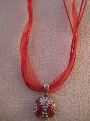 Volleyball Rhinestone Pendant Necklace Ribbon Cord Blue Red Green Yellow White