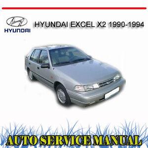hyundai excel x2 1990 1994 service repair manual dvd ebay rh ebay com au 1988 Hyundai Excel 1988 Hyundai Excel