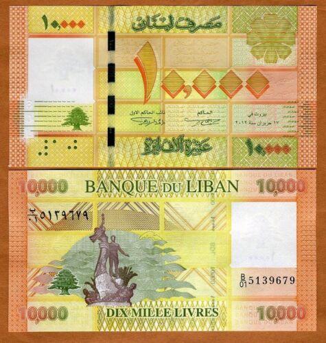 10,000 Lebanon 10000 2012 Livres P-92a UNC
