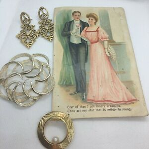 Vintage-1960-039-s-Sarah-Coventry-Brooch-MOD-1928-Jewelry-Co-Earrings-Circle-Pin
