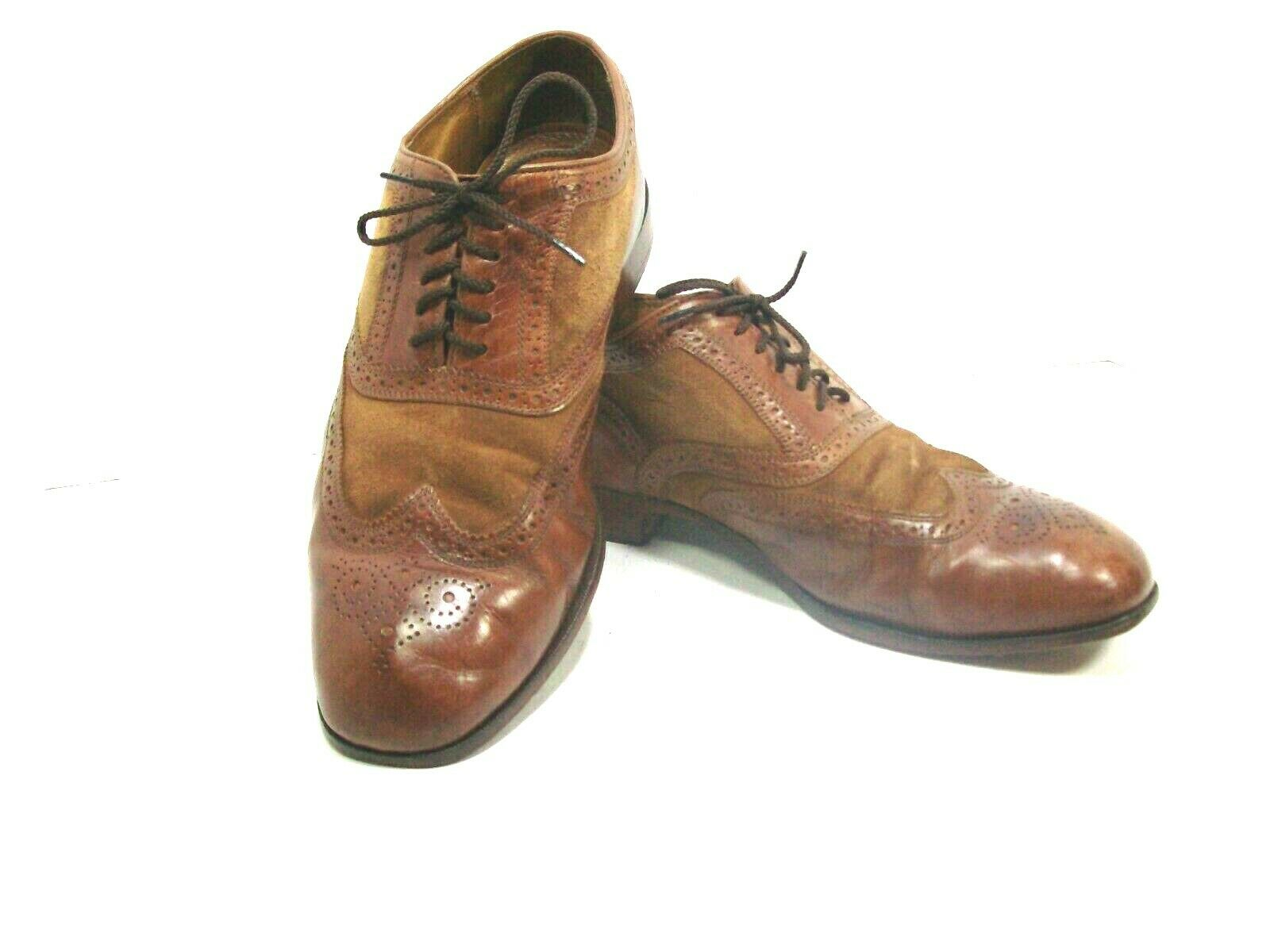 Florsheim Limited 10.5 D Brown Leather Marlton WingTip Lace Up suede Dress shoes