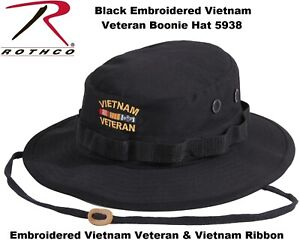 ffd5753ef03 Black Military Wide Brim Vietnam Veteran Boonie Hat With Embroidered ...
