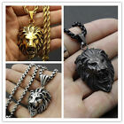 Silver/Gold/Black Tone Fashion Men's Lion Biker Stainless Steel Pendant Necklace