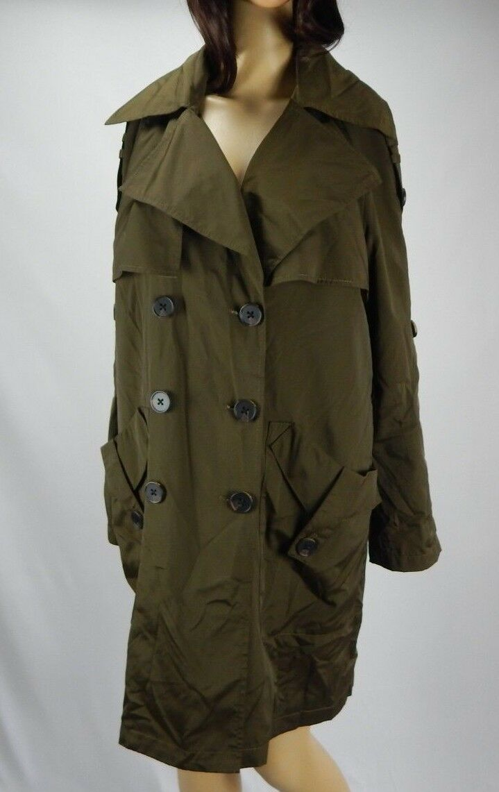 Women's BCBGeneration Olive Green Button-Front Trench Coat, Size Small (no belt)