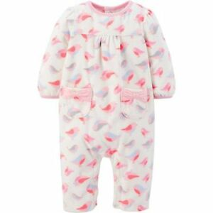 6e3973dae7bf Carter s Pink and White Fleece Jumpsuit Baby Girl Size 6-9 Months