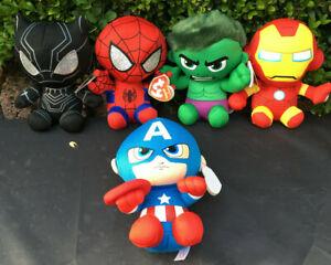 Brillant W-f-l Ty Marvel Héros Iron Man Hulk Spiderman Captain America 15 Cm Tissu Animaux-afficher Le Titre D'origine CaractèRe Aromatique Et GoûT AgréAble