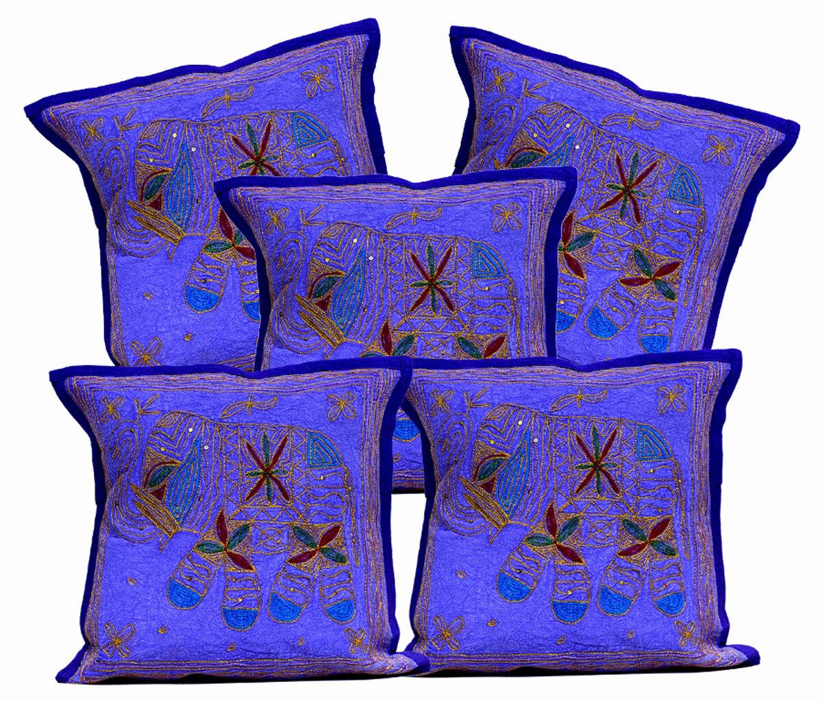 10Pcs Jari  Ethnic Elephant Decorative Cushion Indian Sequin Home Covers AIC840