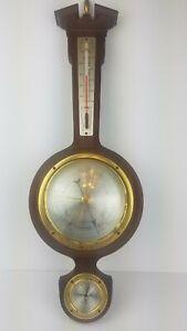 """Taylor USA Banjo Wall Weather Station 21"""" Thermometer Mahogany Wood Barometer"""