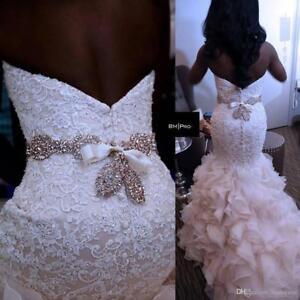Mermaid-White-Ivory-Lace-Beading-Applique-Wedding-Dress-Bridal-Gown-Custom-Size