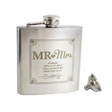 Personalised Mr and Mrs 6oz Hip Flask+Funnel+Box - Free Laser Engraving -Wedding