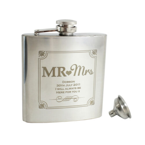 Wedding Personalised Mr and Mrs 6oz Hip Flask+Funnel+Box Free Laser Engraving