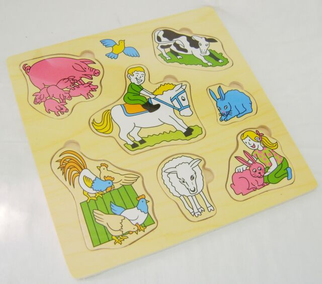 NEW MY FIRST WOODEN PULL OUT PUZZLE BOY ON HORSE FARM PINK RABBIT 7pc PMS