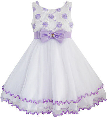 Sunny Fashion Girls Dress Purple Flower White Tulle Pleated Wedding Party 2-10
