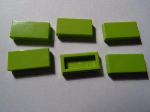 LEGO PART 3069 BRIGHT GREEN 1 x 2 SMOOTH TILES x 6