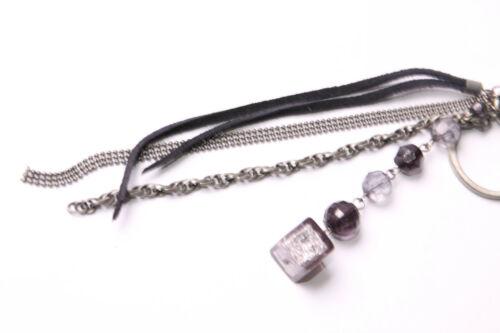 T475 Rocker Women Long Grey Chains/&Black Strings Key Ring w Ball/&Cube Beads