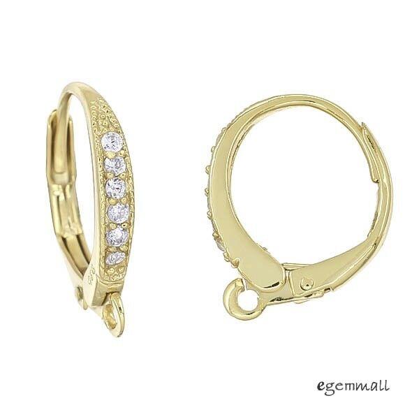 2 Fine 18kt Gold Plated Sterling Silver CZ Leverback Earring Hook Ear Wire 97075