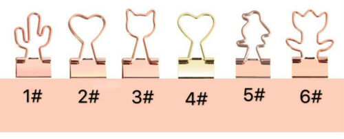 12Pcs Binder Clips Rose Gold Paper Clip Office Stationery Supplies Heart Penguin
