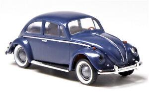 H0-BREKINA-Volkswagen-VW-Kaefer-de-Luxe-Export-Exportmodell-blau-chrom-25043