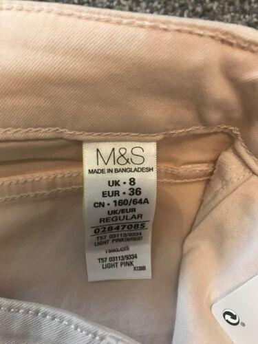 M/&S Light Pink Super soft Skinny Jeggings  Size 8 Regular BNWT Free Sameday P/&p