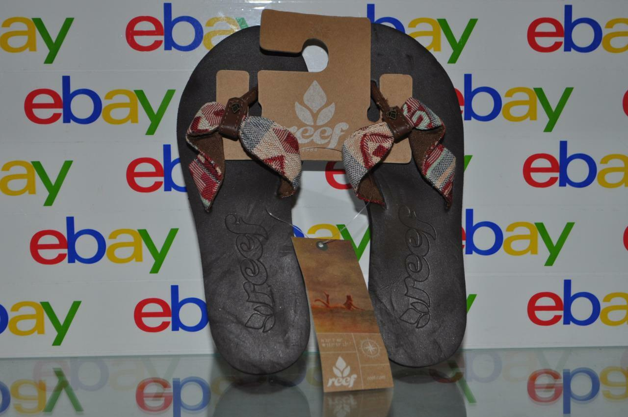 Reef Red Scrunch TX Womens Flip Flop Sandals Brown Soles Red Reef Multi Color Strap NWT cfc15b