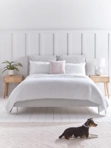 Cox & Cox Stylish Soft Grey Pillow Velvet Super King Bed - RRP £1050