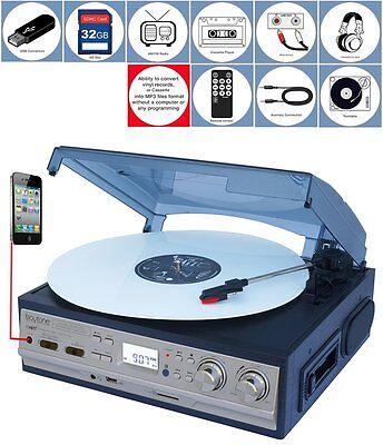Boytone BT-17DJM-C 3 Speed Turntable  AM//FM Cassette//MP3//WMA Playback //Record