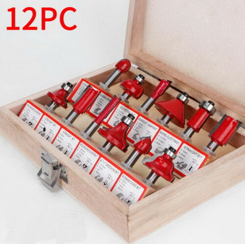 """12PCS 1//4/"""" Shank Milling Cutter Trimmer Machine Set Router Bits For Wood Cutter"""