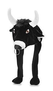 Tier Mütze Plüsch schwarzer Stier Bulle mit Nasenring