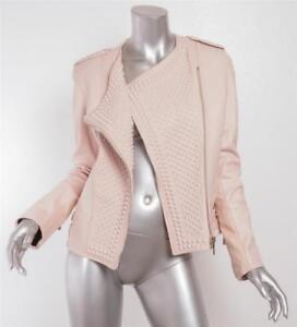 Cipria Di Borchie Nour Moto Rosa Pelle Da Con Hammour Giacca Donna mwnN80