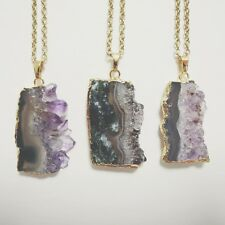 Natural raw amethyst crystal slice hippie necklace simple elegant boho bohemian